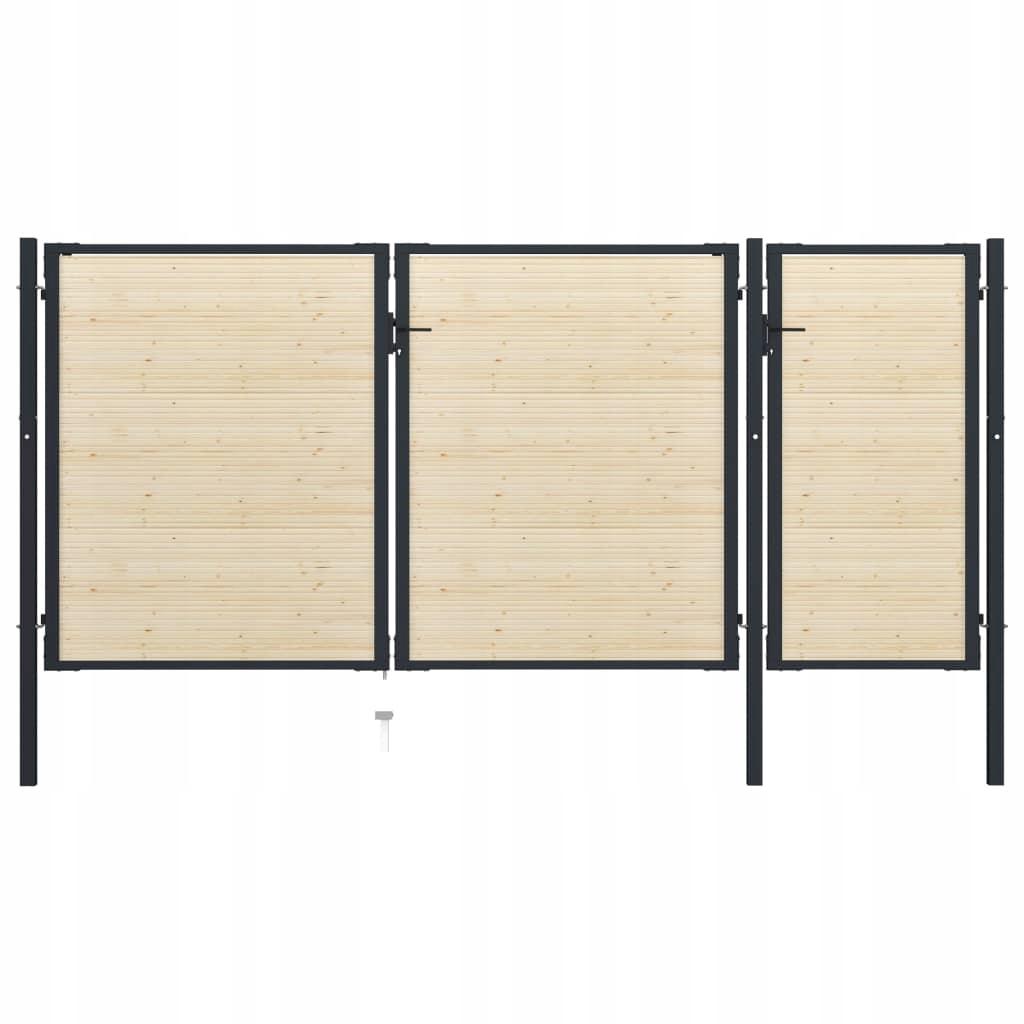 Brama ogrodzeniowa, stal i drewno świerkowe, 413x2