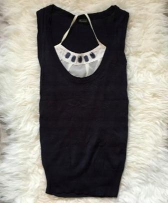 Granatowa sweterkowa bluzka kamizelka Reserved S 3
