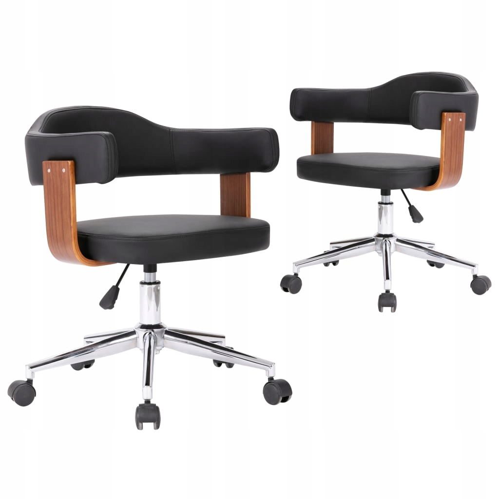 Krzesła obrotowe, 2 szt., czarne, gięte drewno i s