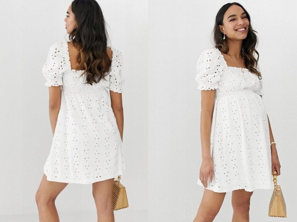 Mini biała sukienka ciążowa haft 46/3XL