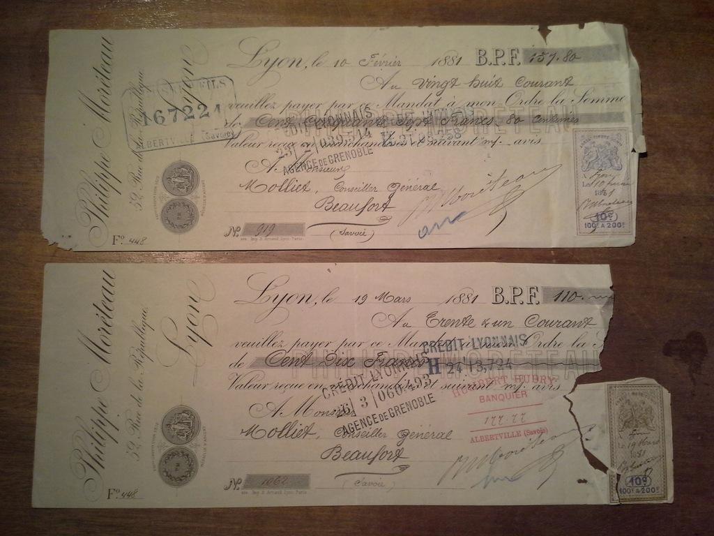 2 czeki Credit Lyonnais 1881 Philippe Moreteau