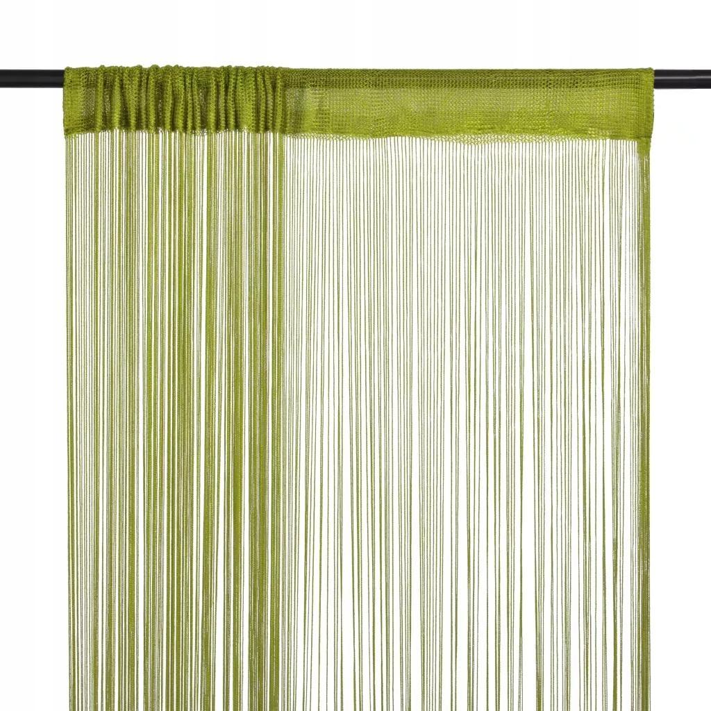 Zielone Zasłony Sznurkowe 2 Sztuki 140 x 250 cm