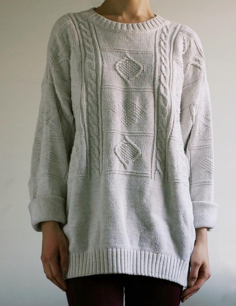 luźny sweter bawełna oversize basic warkocz 34 36