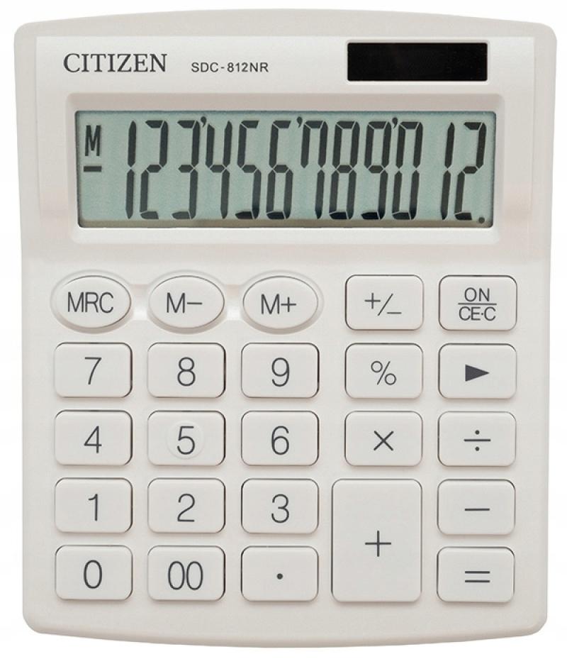 Kalkulator biurowy CITIZEN SDC-812NRWHE biały