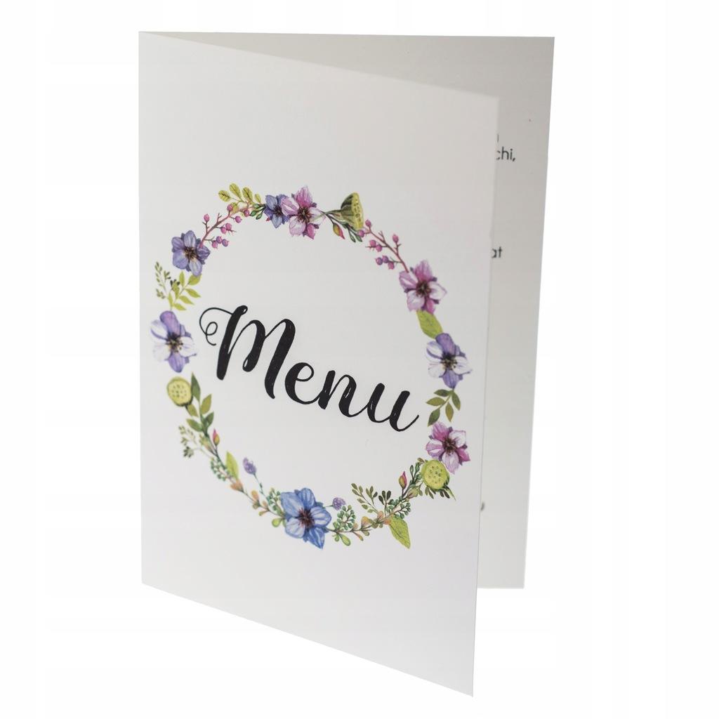 Menu weselne ślubne karta dań botaniczne wesele