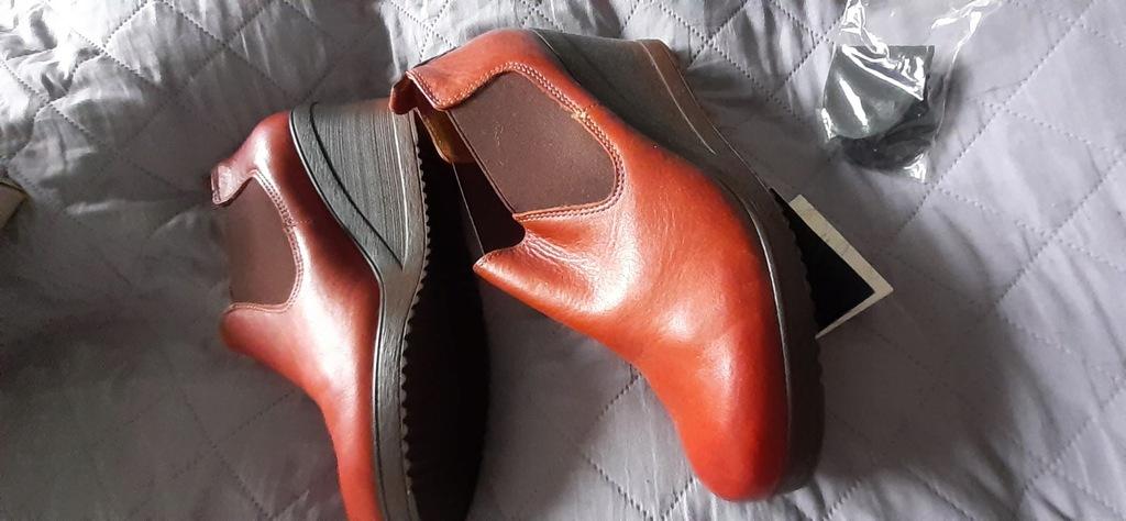 RYŁKO RELAX, buty koturn skóra nowe 39