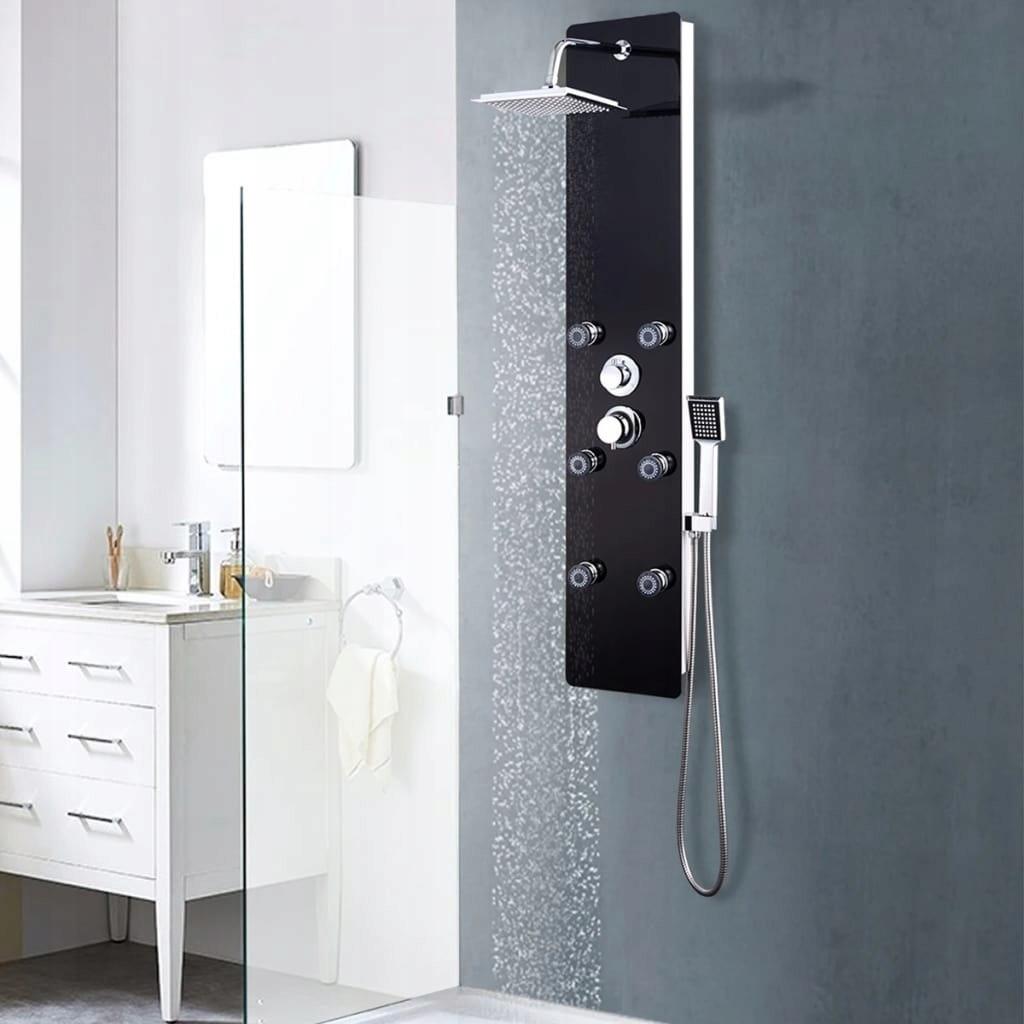 Panel prysznicowy, szkło, 25 x 44,6 x 130 cm, czar