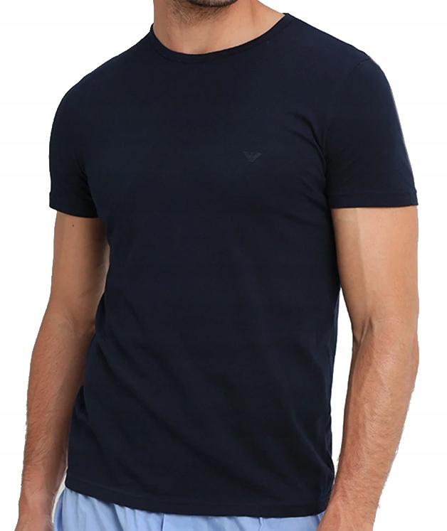 EMPORIO ARMANI Granatowy T-Shirt Szare Logo _ XL