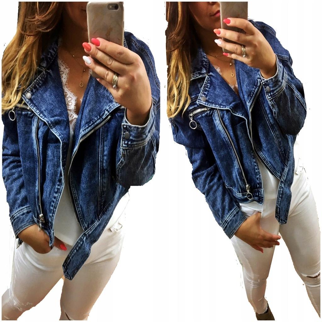 Kurtka jeansowa z paskiem niebieska
