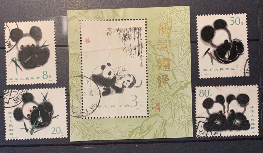 Chiny Pandy 1985 + BLOK (5 znaczków)