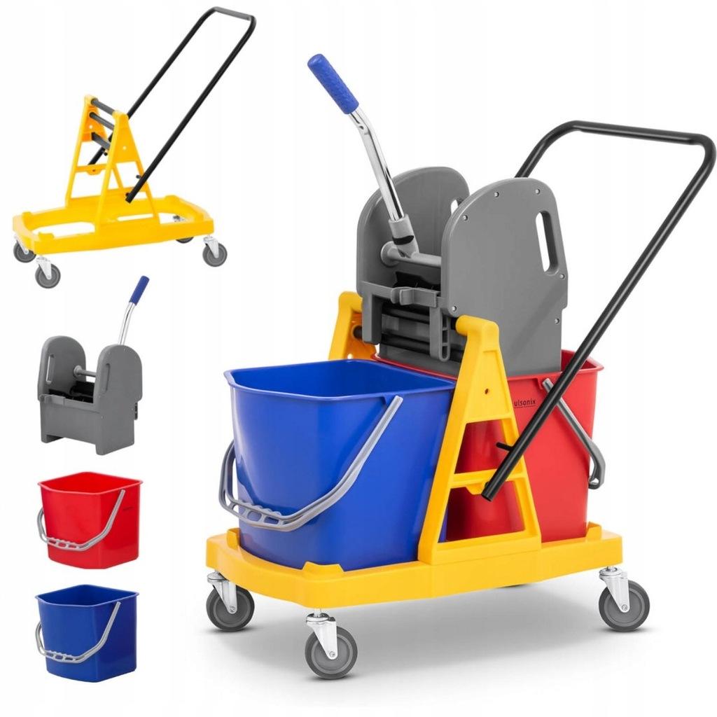 Wózek do sprzątania z uchwytem i prasą do mopa pła