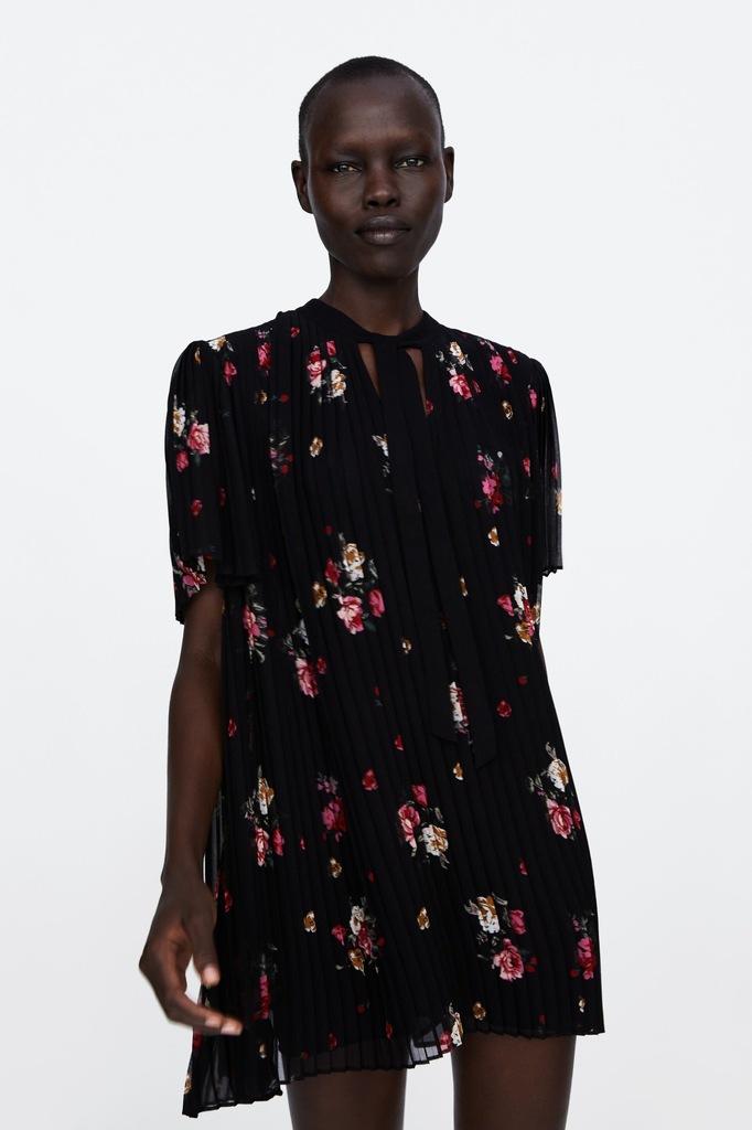 Sukienka kombinezon ZARA plisowana wiązana kwiaty