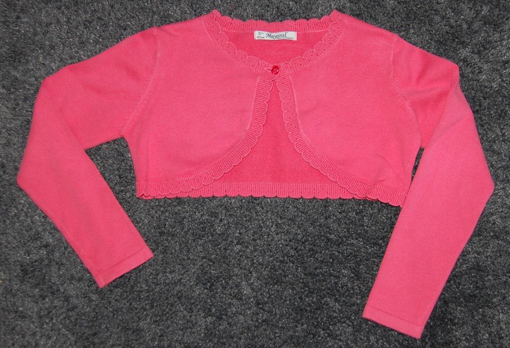 Koralowy sweterek krótki, rozm. 122