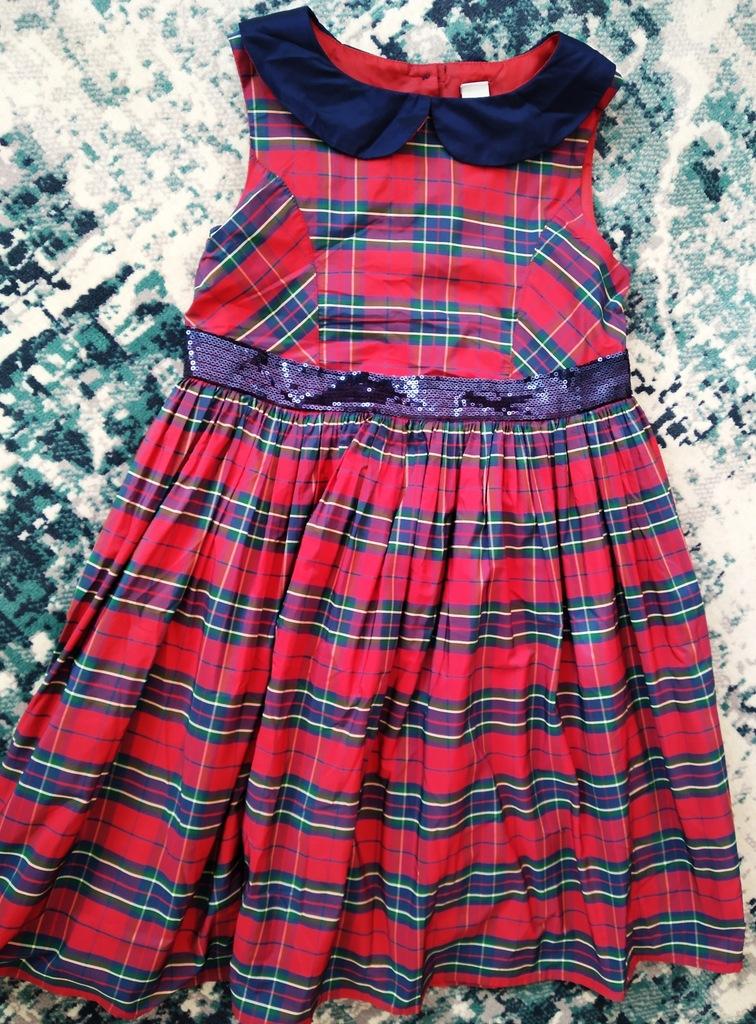 Świąteczna sukienka krata *cekiny* kokarda TU 122