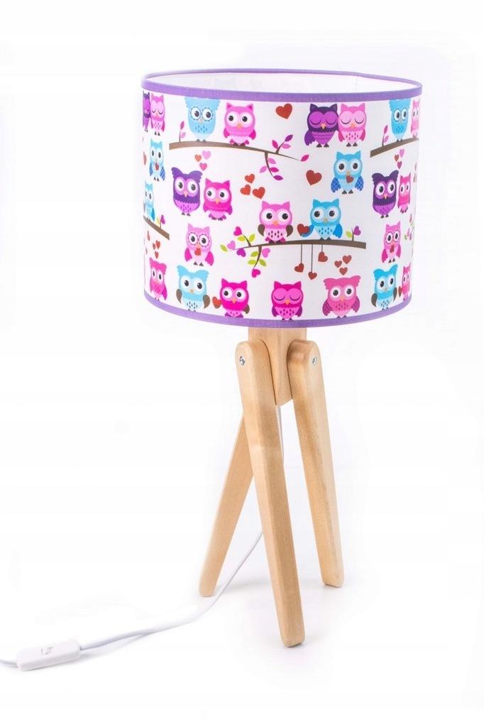Lampka biurkowa stołowa dziecięca Effy sówki drewn
