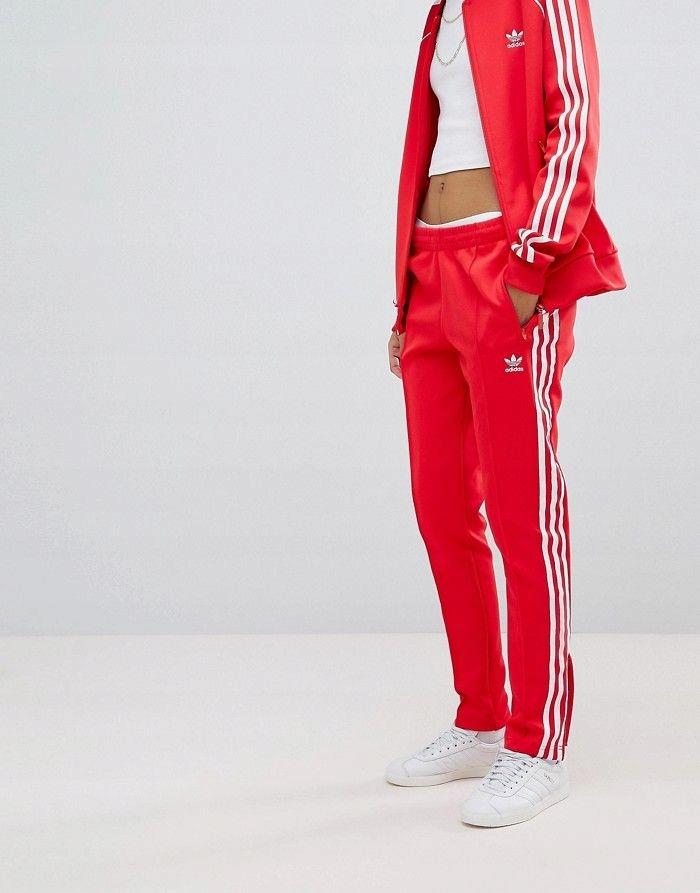 czerwone spodnie dresowe damskie adidas