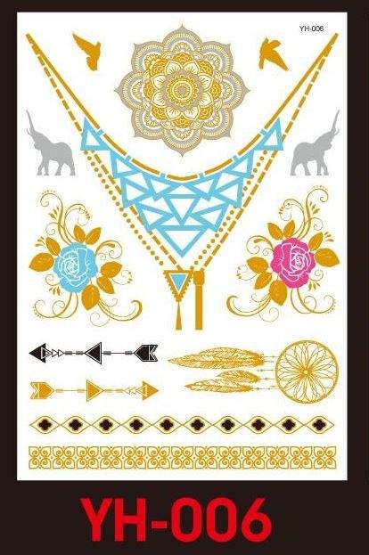 Tatuaże metalic złote srebrne FLASH TATTO YH-006