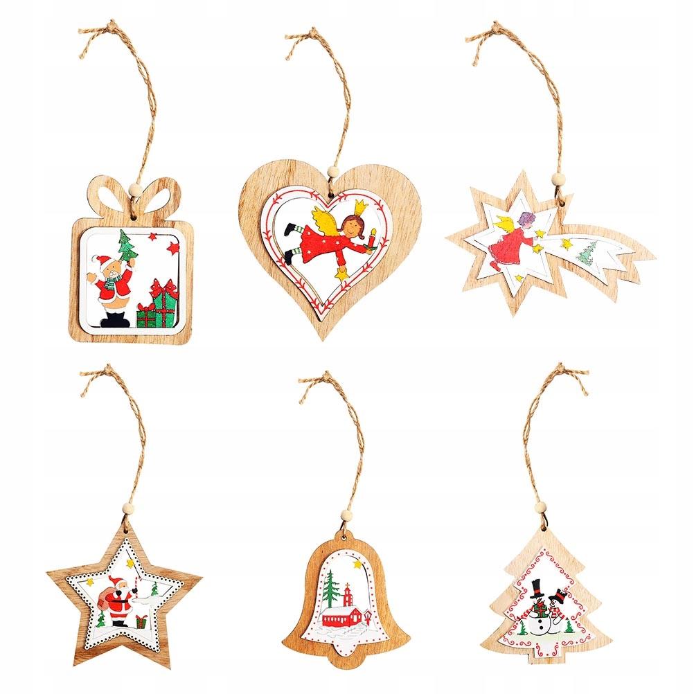 6 sztuk Boże Narodzenie drewniane wisiorek kolorow