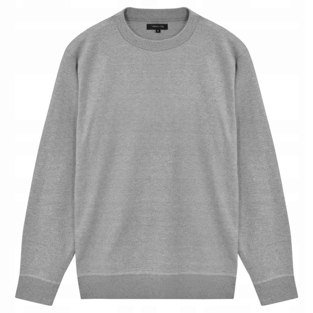 Sweter Męski, Okrągły Dekolt, Szary, Rozmiar XL
