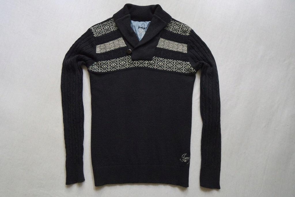 JACK JONES sweter sweterek granatowy 80% WEŁNA_S/M