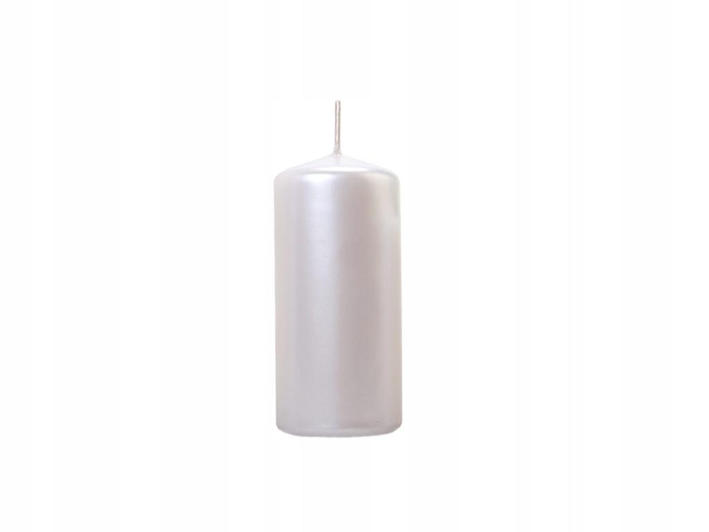 Świeca klubowa metaliczna perłowa, 1 szt. 12x6 cm