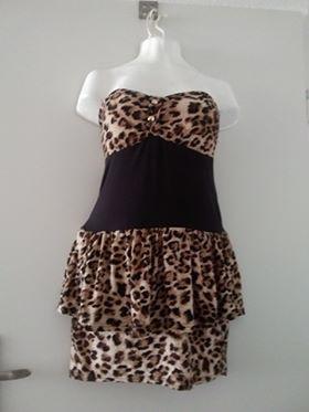 Sukienka panterka bez ramiączek s+kolczyki