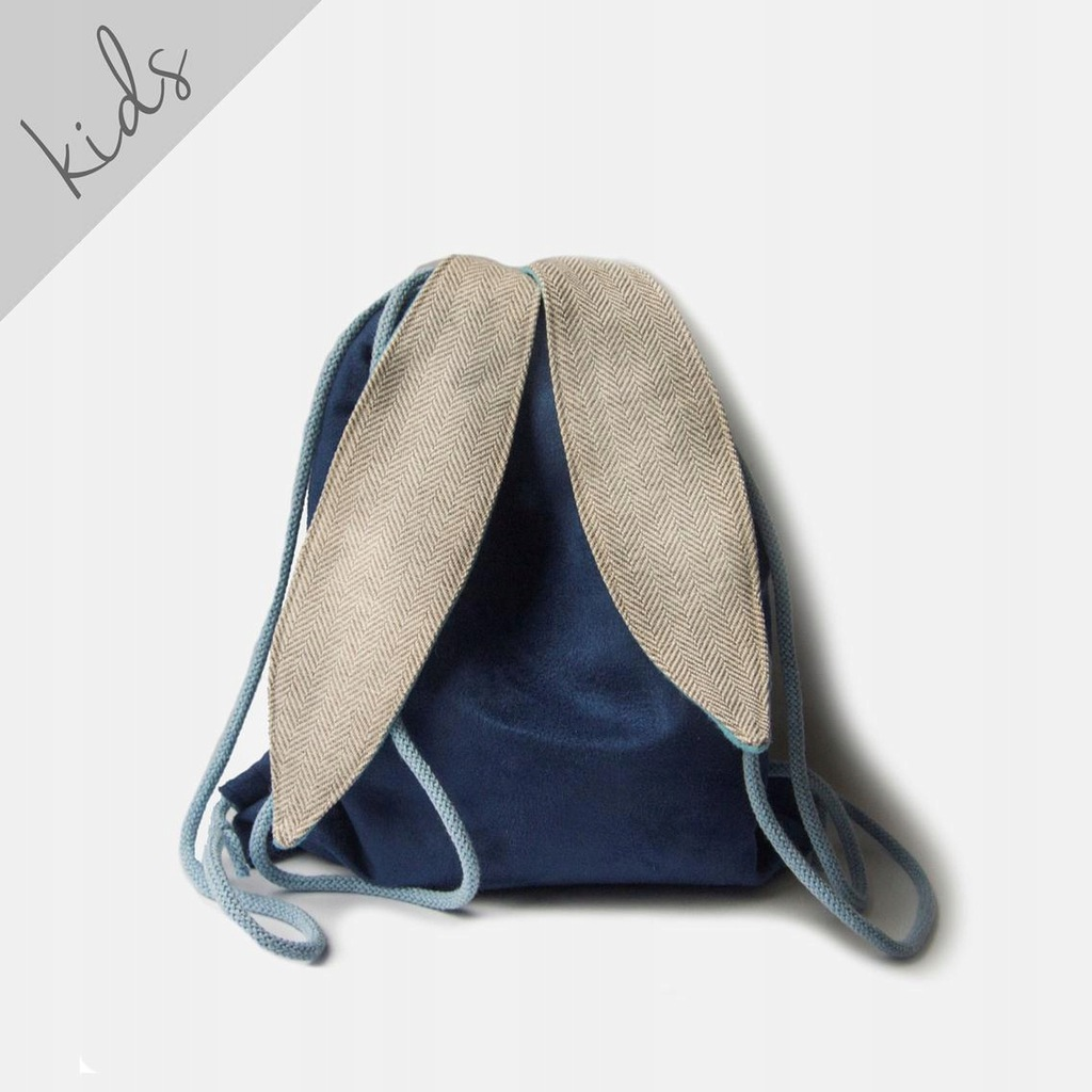 RASPBERI Granatowy plecak worek z uszami królika