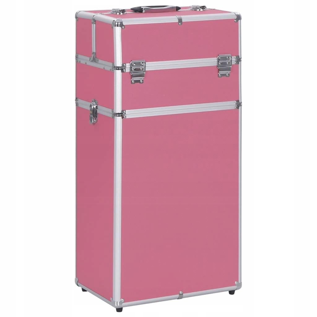 Wózek na akcesoria do makijażu, aluminiowy, różowy