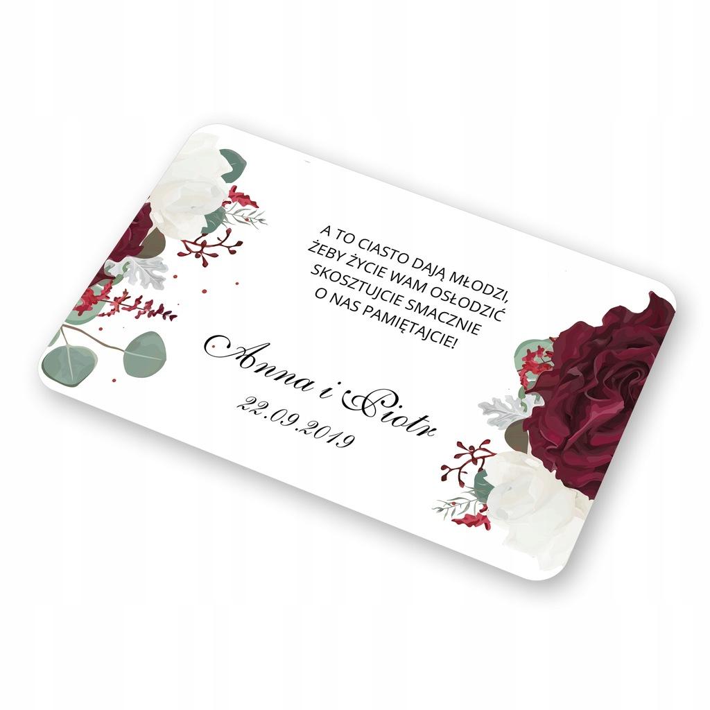 Etykiety, Naklejki na ciasto Bordowe Kwiaty - 8szt