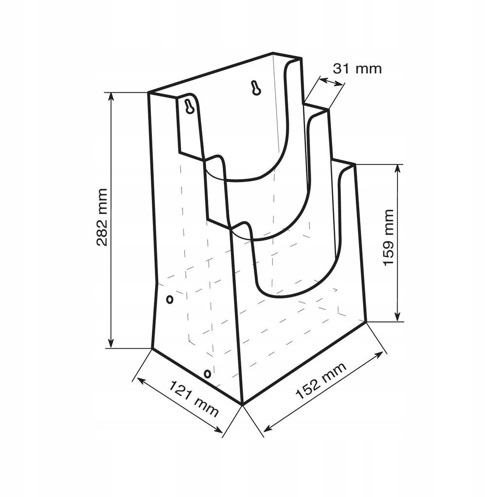 Stojak kaskadowy na ulotki - 3 kieszenie A5