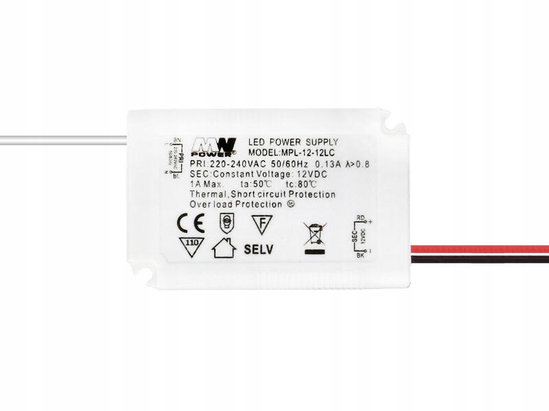 Zasilacz do taśm LED MW POWER MPL 12V 1A 12W