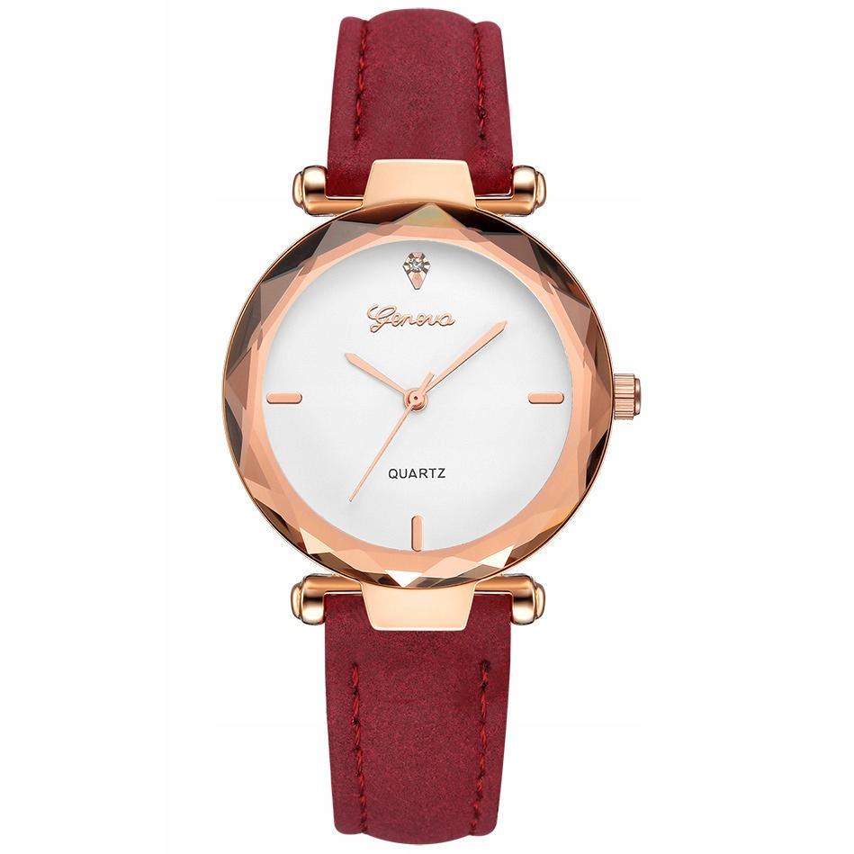 Damski zegarek GENEVA różowe złoto malinowy pasek