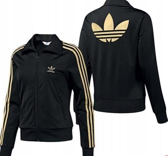 Bluza Adidas Damska M Czarna Zlote Paski