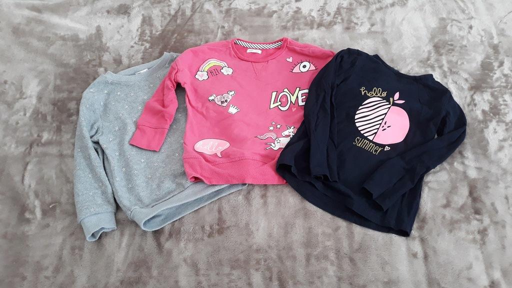 Zestaw ubranek dla dziewczynki spodnie + bluzy 98