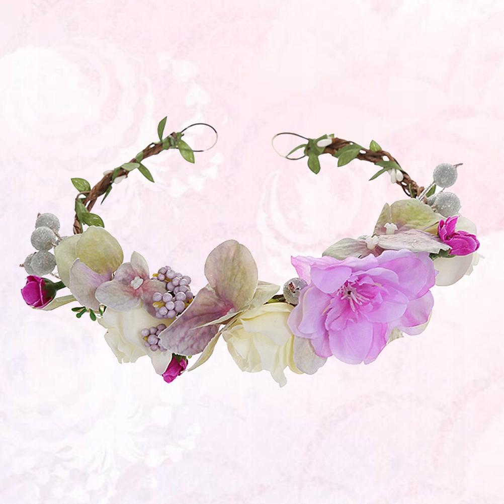 Purple Simulate Flower Headpiece Wedding Bridal He