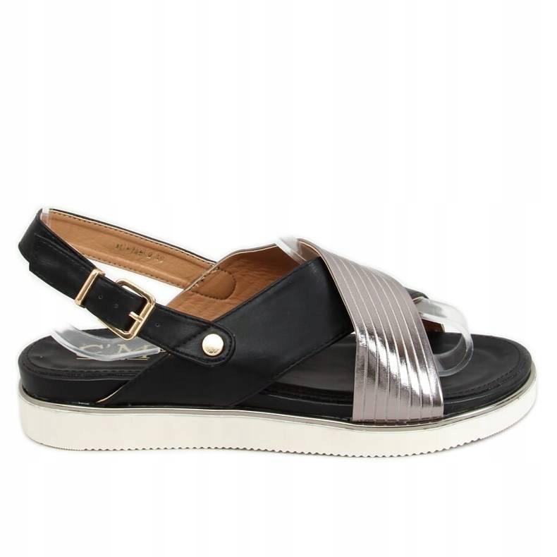 Srebrno- czarne sandałki na grubych paskach 37