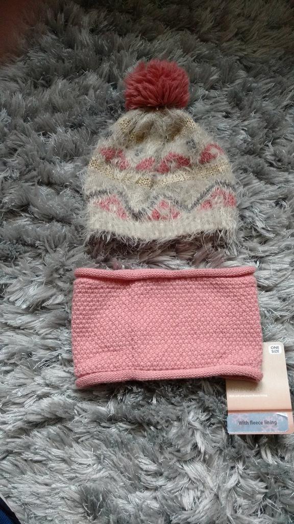 KOMPLET zimowy czapka komin 4-5l 50-54cm bdb++