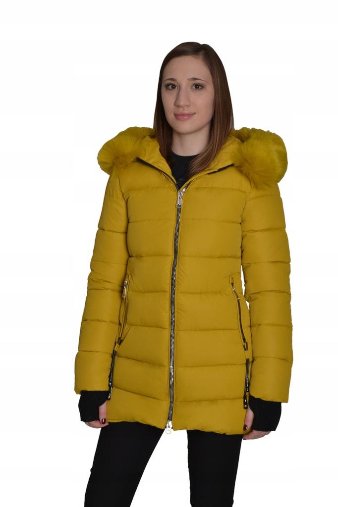 Kurtka zimowa pikowana damska z futerkiem r. M38