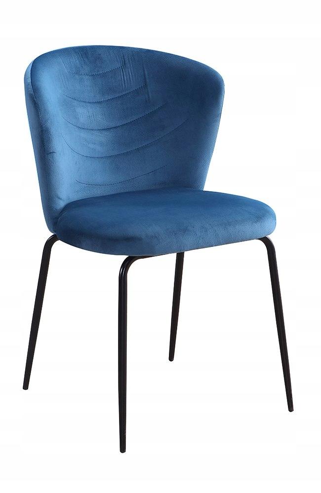 Krzesło VIKI morski aksamit/ noga czarna