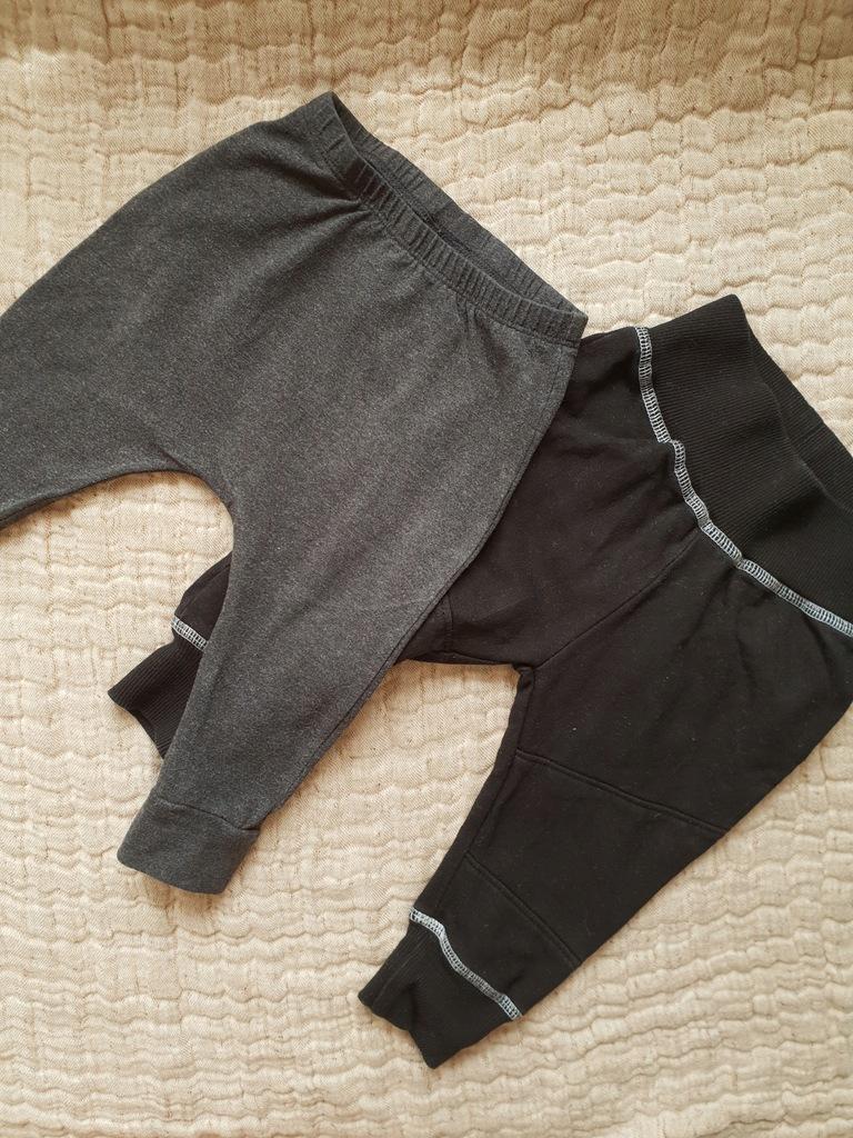 Spodnie dresowe 68 czarne grafitowe 2 szt NEXT