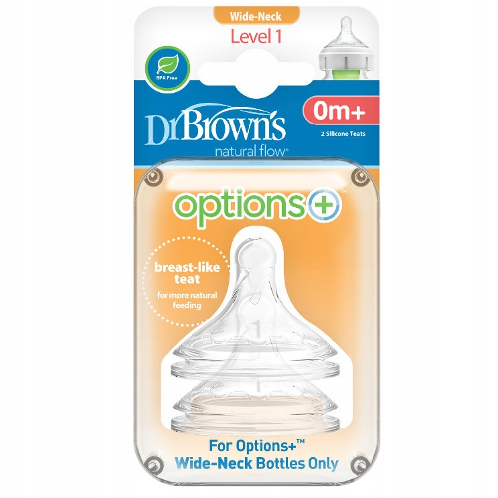 Dr Brown's Smoczki OPTIONS+ Szeroka 0-3, 2pack