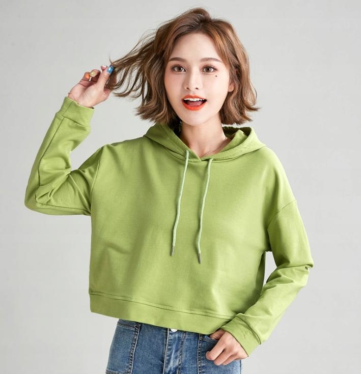 Damskie bawełniane bluzy z kapturem zielony S