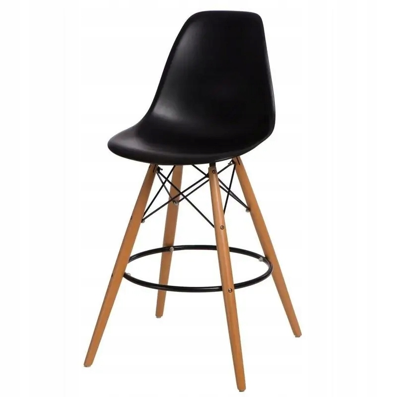 Hoker P016W PP czarny - stołek barowy