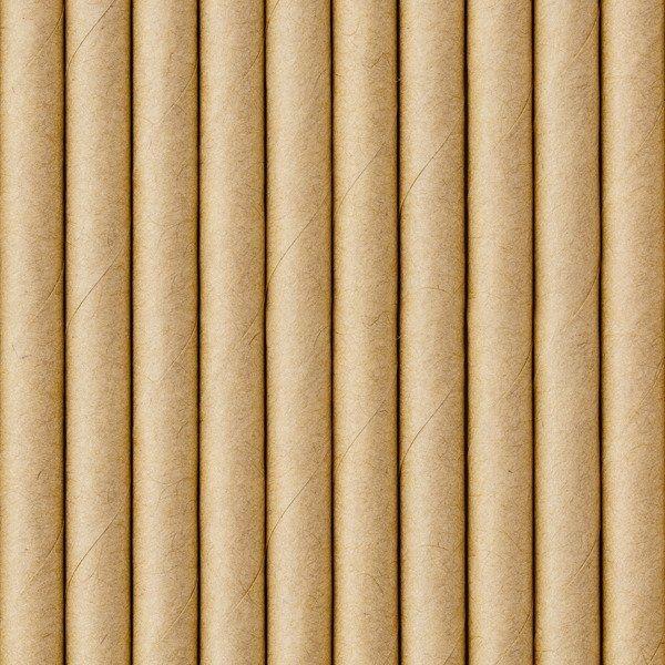 Słomki papierowe, kraft, 19.5cm (1 op. / 10 szt.)