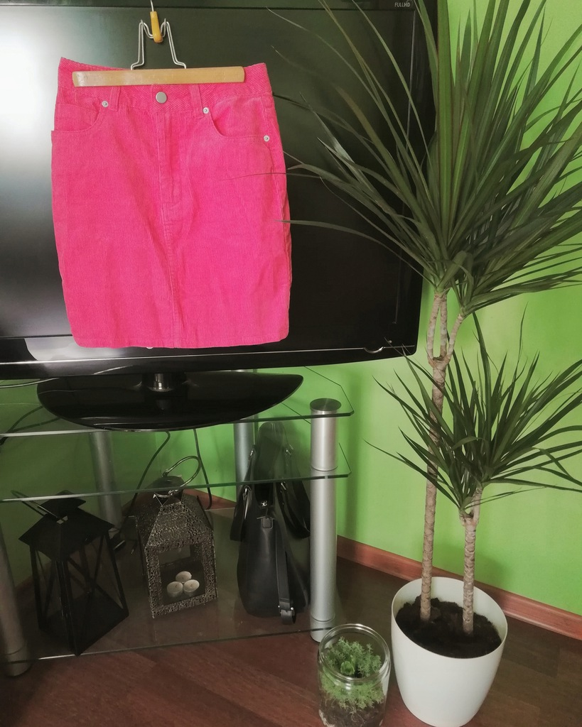 Sztruksowa spódniczka XS Asos pomarańcz róż