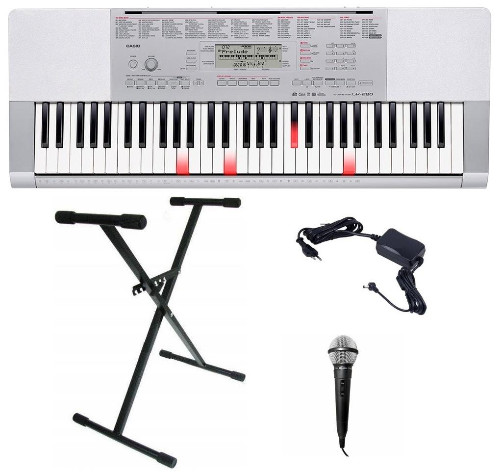 Keyboard Casio LK 280 ZESTAW MIKROFON STATYW