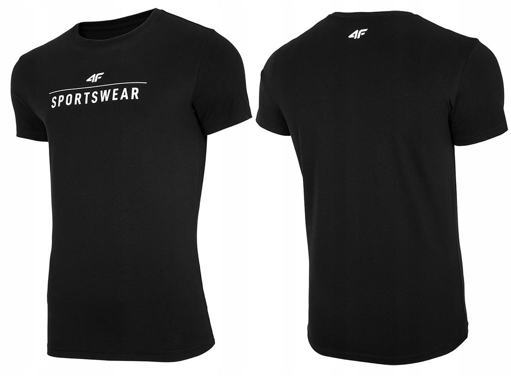 4F T-shirt KOSZULKA Męska TSM005 BawełnaCZARNA 3XL