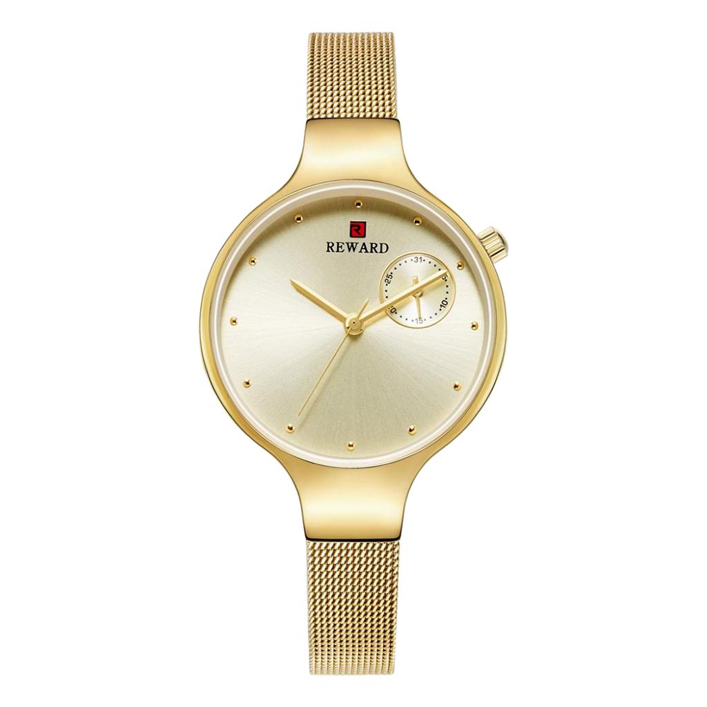 Kwarcowy zegarek damski - Złoty
