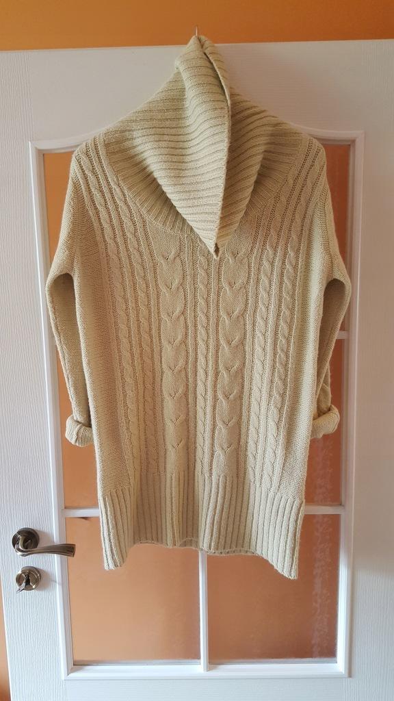 NEXT pleciony Z MOHEREM sweter oversize 40-42