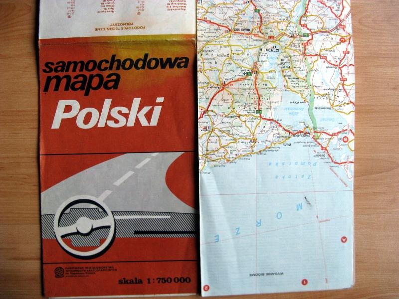 plan stara mapa samochodowa Polska 1990